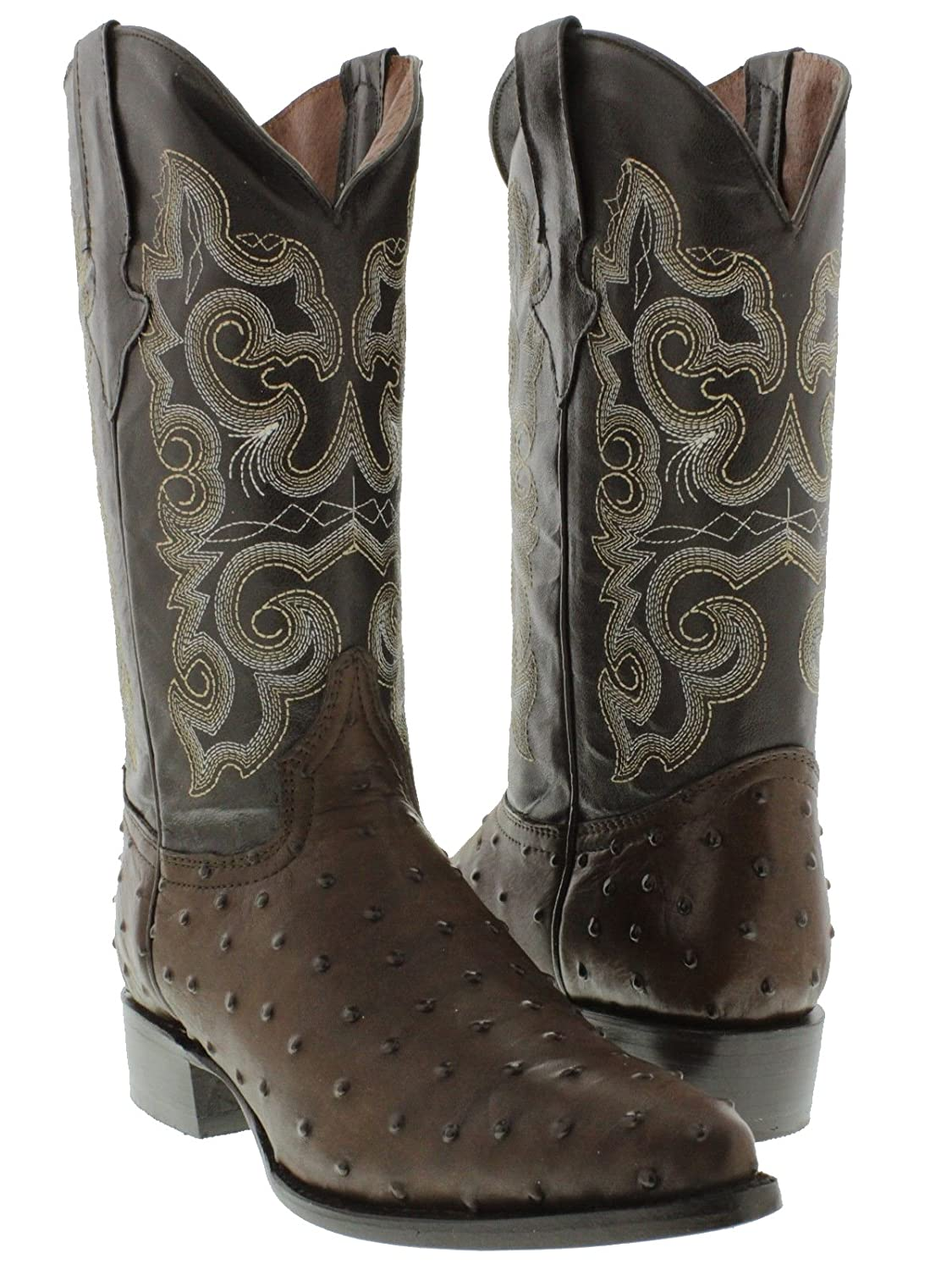 Team West - Men's Cognac Ostrich Quill Design Leather Cowboy Boots J Toe