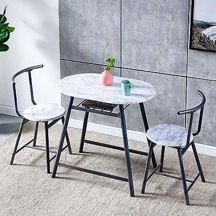 Set Di 3 Sedie E Tavolo Da Pranzo Per Cucina Piccolo Appartamento In Legno Con Struttura In Metallo Salvaspazio Colore Bianco Amazon It Casa E Cucina