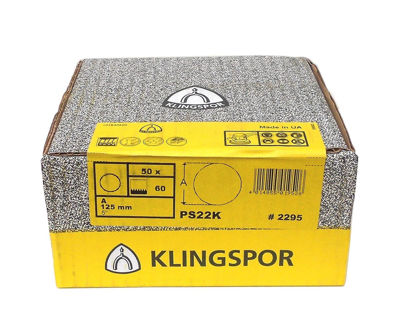 GLS 0 K/örnung: 100 ungelocht /Ø 125 mm Klingspor PS 22 K Schleifscheibe 2296 | 50 St/ück