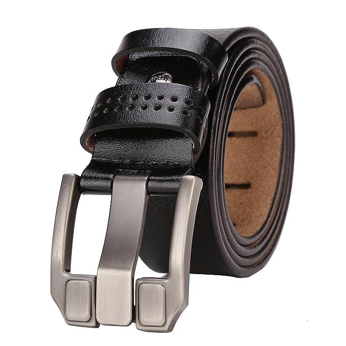 Amazon.com: BISON DENIM - Cinturón de cuero para hombre con ...
