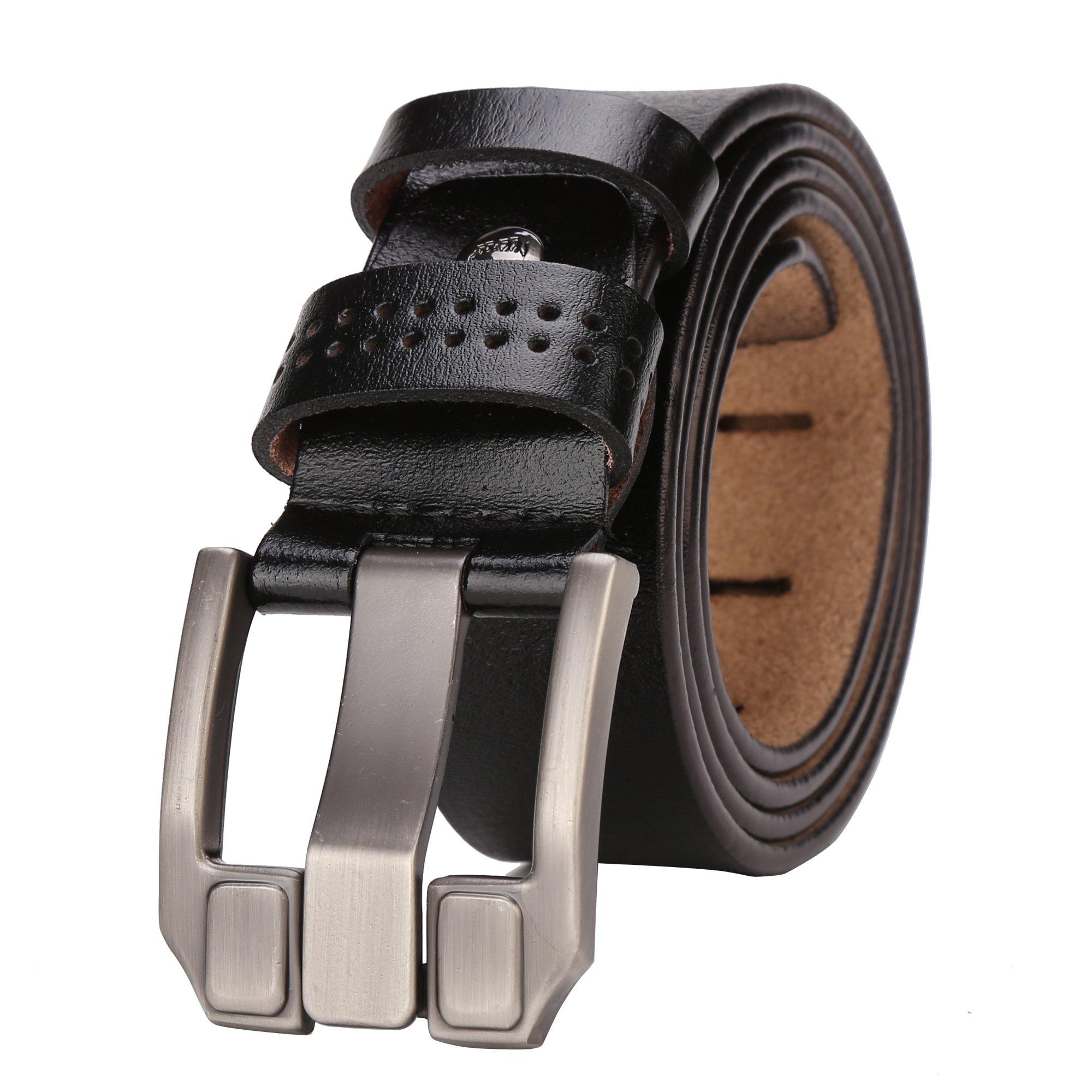 BISON DENIM Mens Leather Belt Genuine Leather Dress Belt Casual Fashion Single Prong Buckle Belts for Jeans