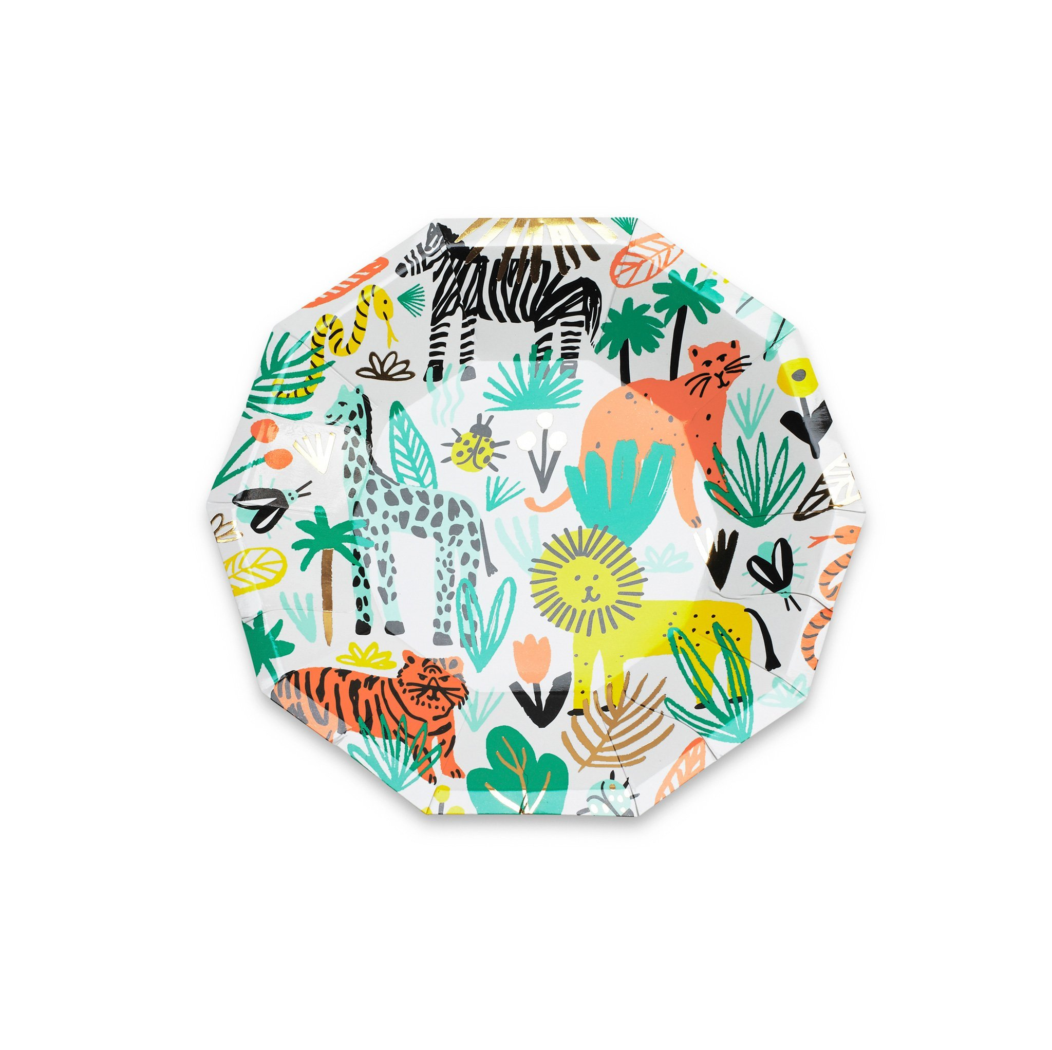 Daydream Society Into the Wild Jungle Animal Small Paper Party Plates, Pack of 8