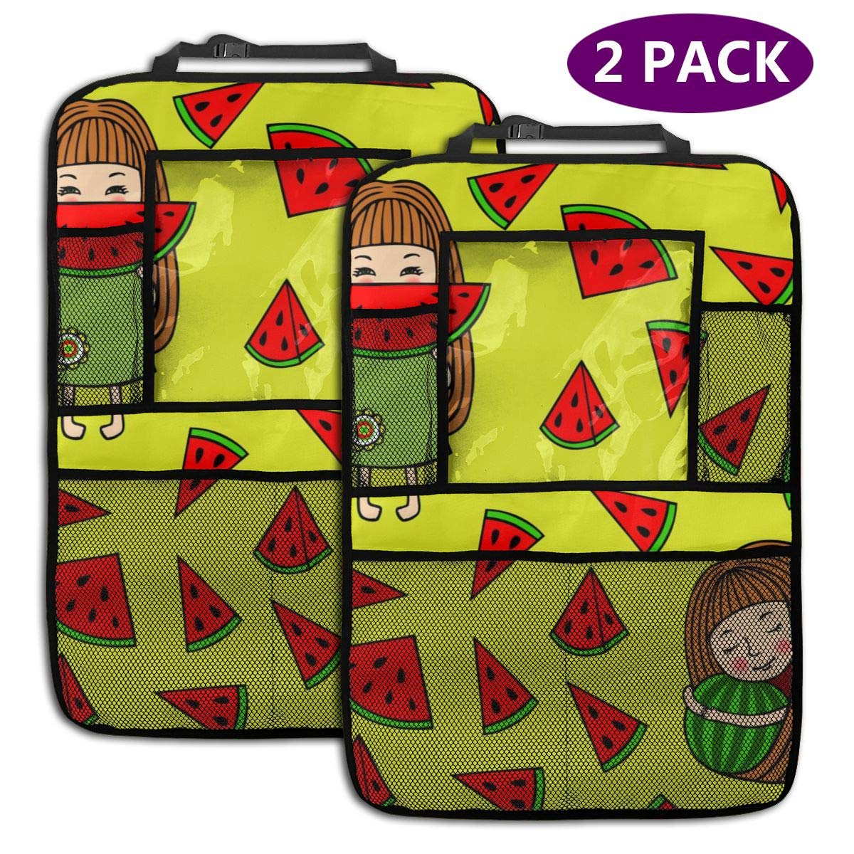 Girl Eating Watermelon 2 Pack Car Seat Organizer Kick Mat Protector Durable Quality Seat Covers Protectors by LZQEEN