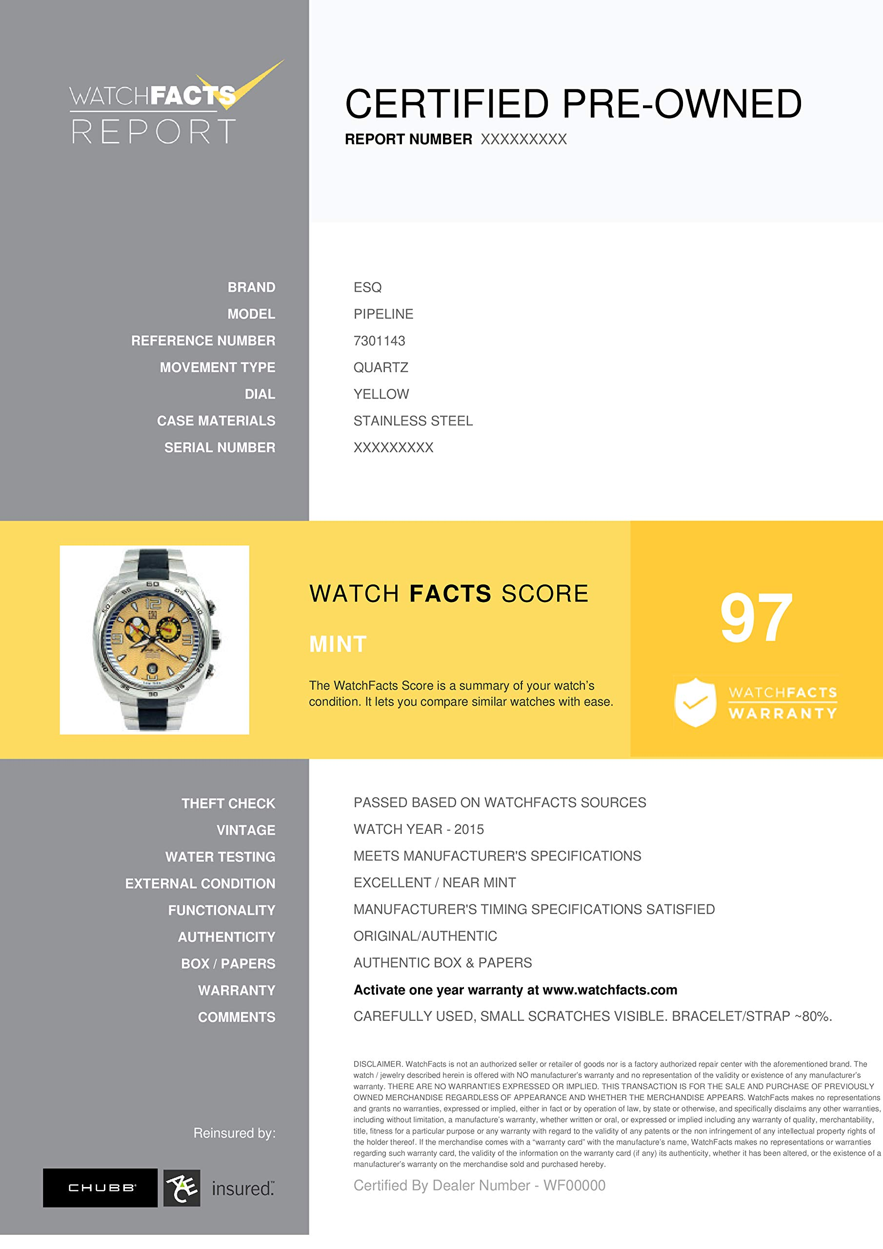 ESQ Pipeline Quartz Male Watch 7301143 (Certified Pre-Owned) by ESQ (Image #5)