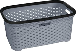 Rattan (Wicker Style) 1.4 Bushel Laundry Basket (Grey)
