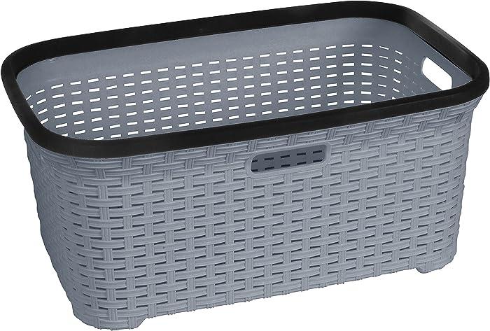 Rattan (Wicker Style) 1.4 Bushel Laundry Basket (Grey)