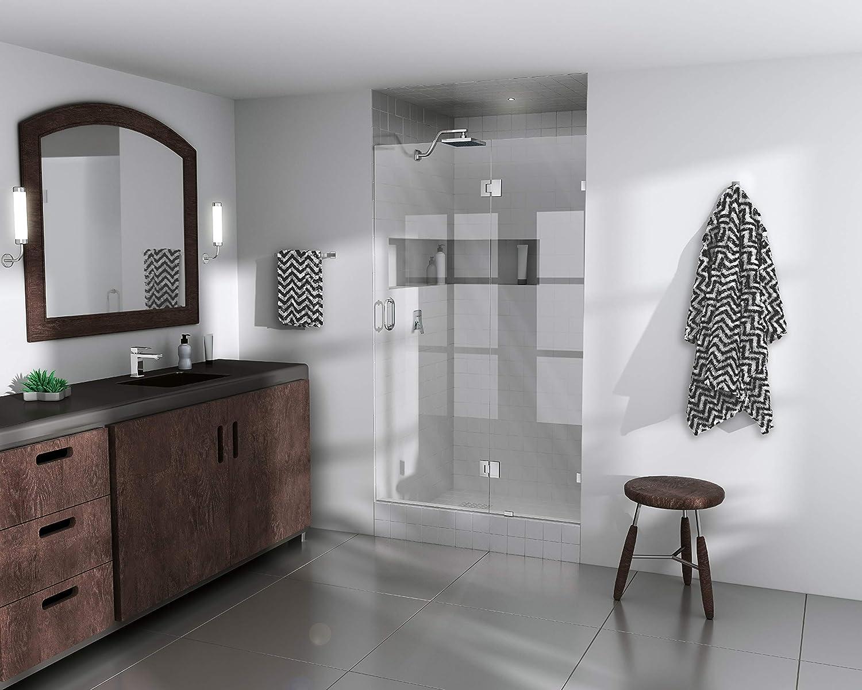 """Glass Warehouse Frameless Shower Door - Glass Hinge - with Enduroshield Glass Coating 78"""" x 42.5"""" Chrome"""