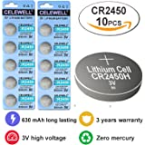 CR2450 3 Years Warranty LED Candles Remote 3V Lithium Key Fob Battery CELEWELL Brand 10 Count Coin Button Cell .