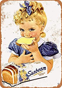 Yousigns 1954 Sunbeam Bread Girl Metal Tin Sign 12 X 8 Inches Retro Vintage Decor