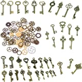 BESTIM INCUK 120 Gram Antique Bronze Vintage Skeleton Keys Steampunk Gears Cogs Charms Pendant Clock Watch Wheel for Jewelry Making Supplies, Steampunk Accessories, Craft Projects (Approx 80pcs)
