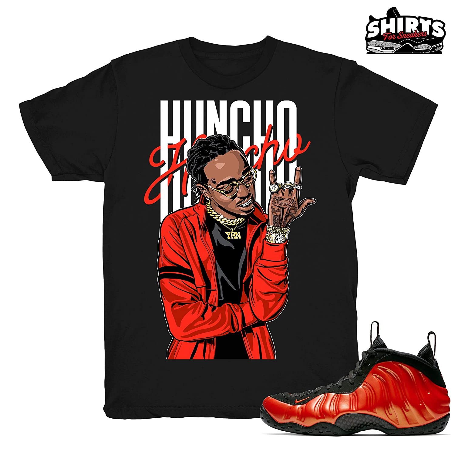 check out 9a0b5 04547 Habanero Red Quavo Huncho Shirt to Match Foamposite One Habanero Red  Sneakers Black t-Shirts   Amazon.com