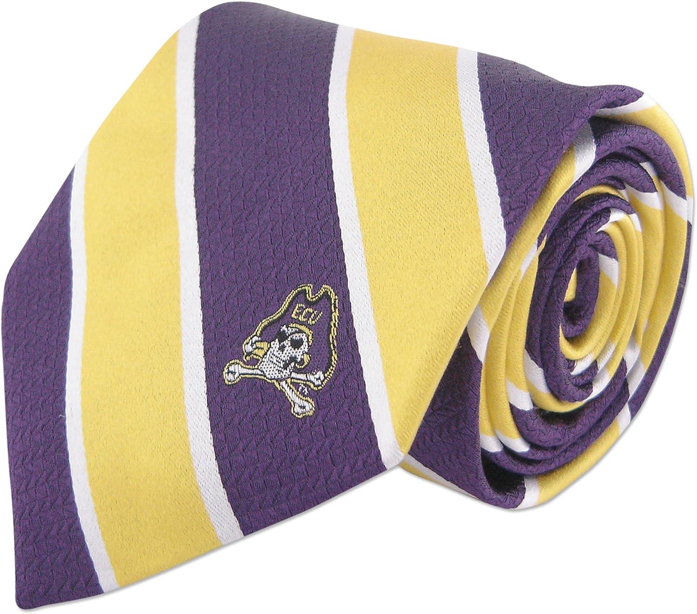 Yellow and Purple NCAA ECU Pirates Mens Woven Silk Thin Stripe Collegiate Logo Tie 2 One Size