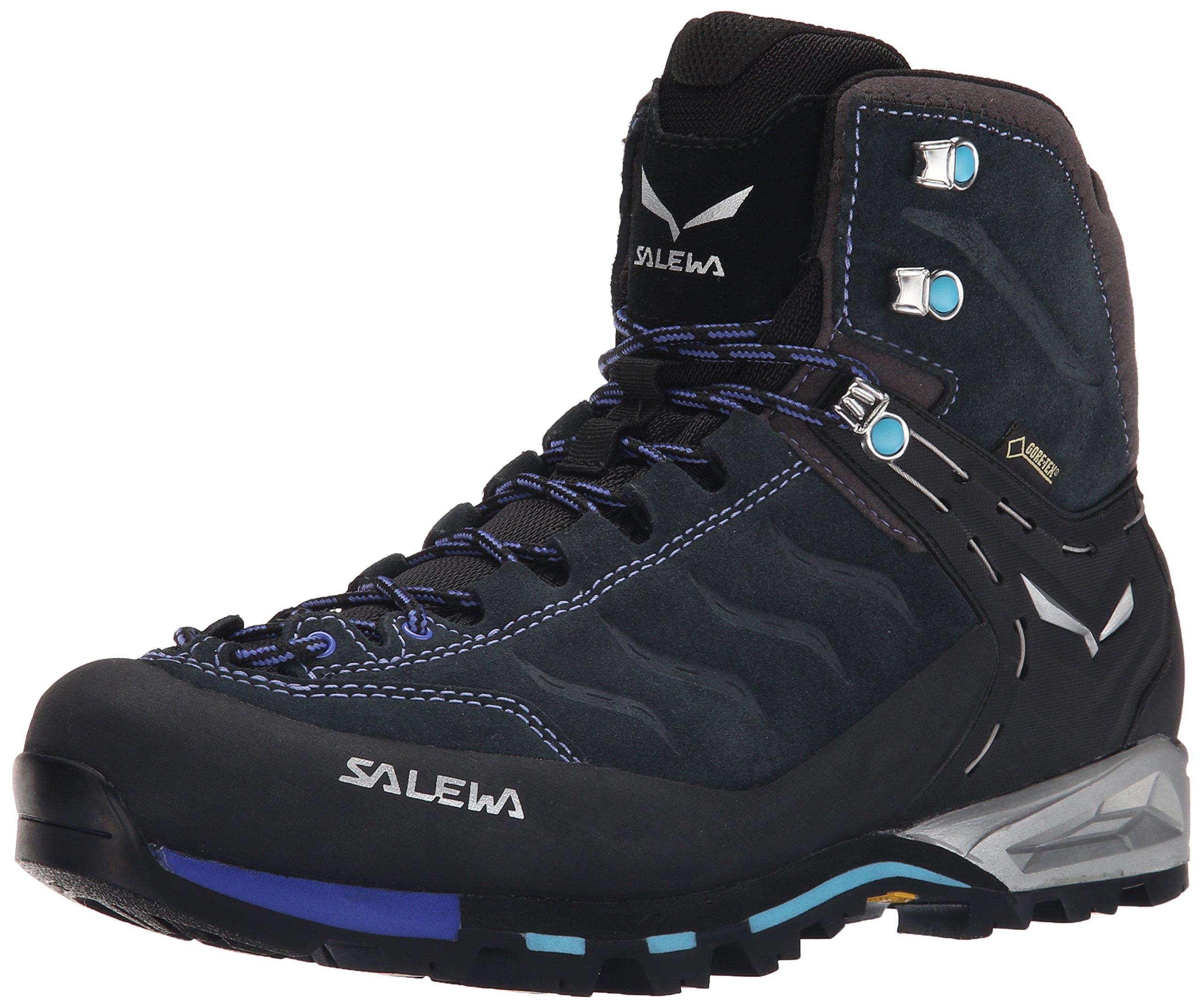 Salewa Women's WS MTN Trainer Mid GTX Hiking Shoe, Carbon/River Blue, 8 M US