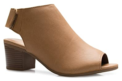 OLIVIA K Women s Peep Toe Bootie - Low Stacked Heel - Ankle Boot Tan 41373af4f5