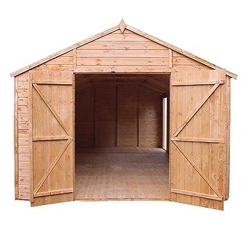 Cobertizo de jardín de madera Waltons 50 x 25 cm, doble puerta, ventanas y fieltro de techo: Amazon.es: Jardín