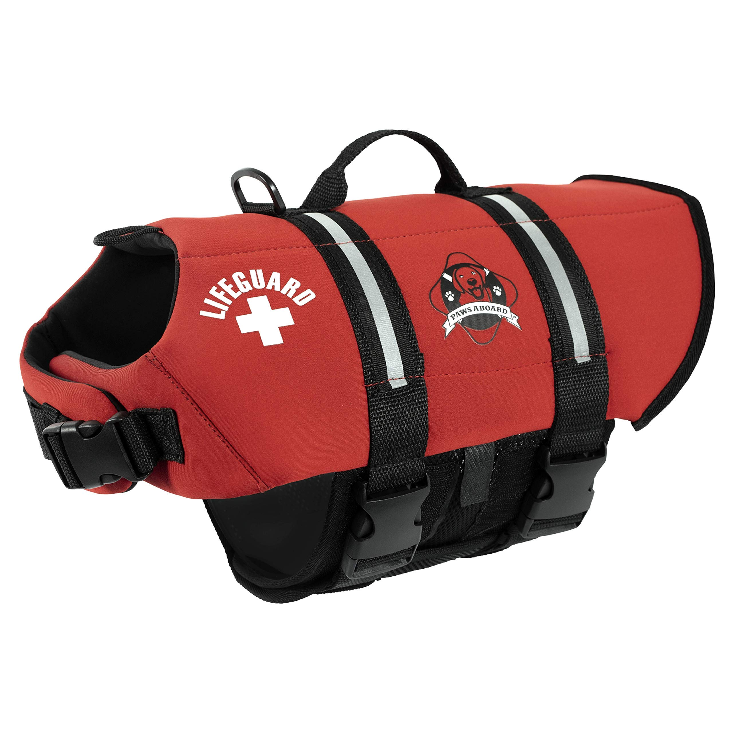 Paws Aboard Double Neoprene Designer Doggy Life Jacket in Red - Extra-Small