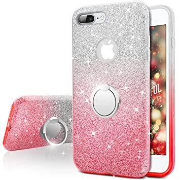 Funda iPhone 8 Plus, Miss Arts Carcasa Brillante Brillo, cubierta exterior de TPU + armazón interior de PC para Apple iPhone 8 Plus -Rosado