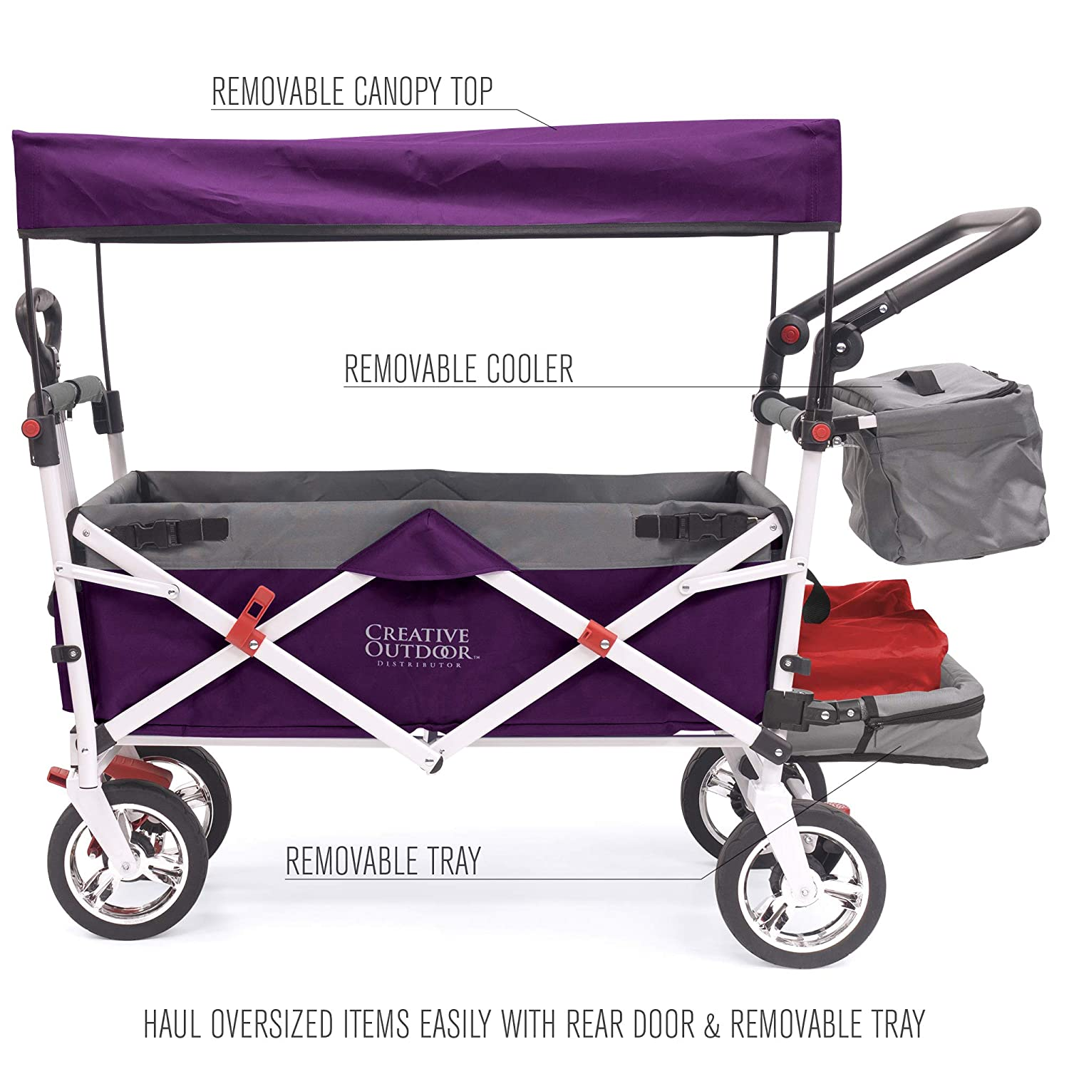 Creative Outdoor Push Pull Collapsible Folding Wagon Stroller Cart for Kids | Silver Series | Beach Park Garden & Tailgate | Purple