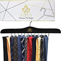 MATAYA Premium Tie Hanger – Black Wooden Tie Rack Organiser For 24 Ties