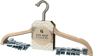 Signature Home (Set of 6 Velvet Skirt/Pant Hangers with Metal Clips, Linen, 6 Piece