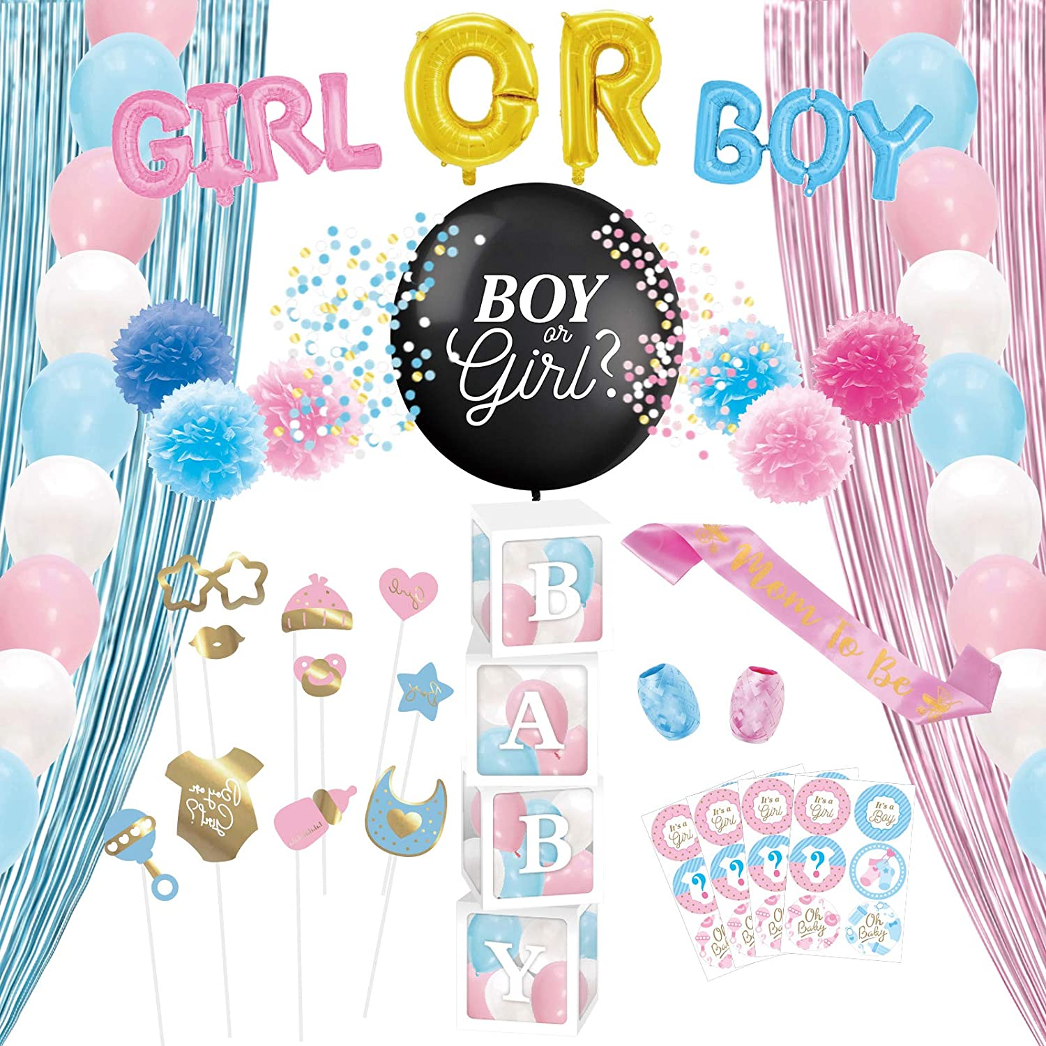 Decorlife Gender Reveal Party Supplies, Total 72PCS, Backdrop Curtain, Baby Boxes with Letters for Baby Shower, Boy or Girl Balloon, Mom to Be Sash, 36 Inch Balloon, Photo Booth Props, Pink and Blue Balloons for Gender Reveal, Stickers, Pom Poms Included