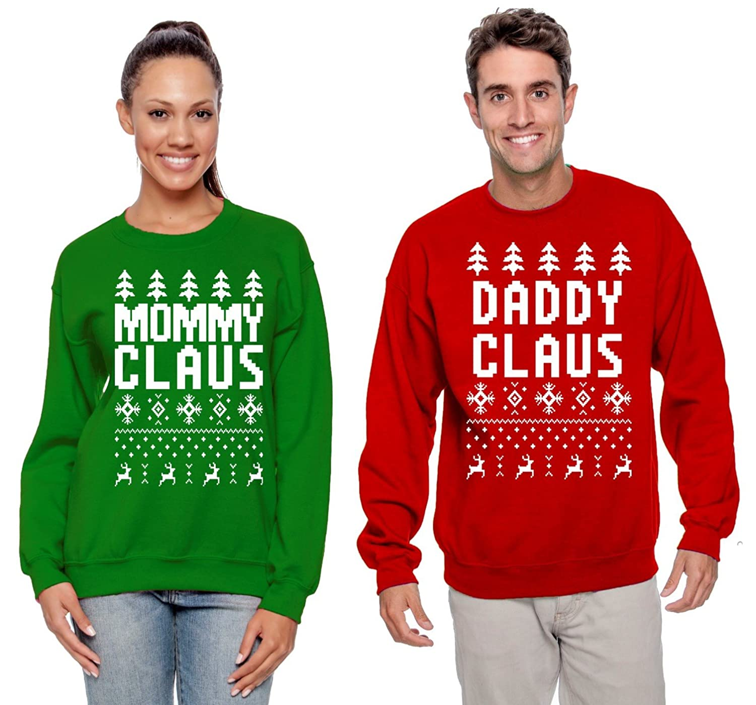 Couples Matching Ugly Christmas Crewneck Sweatshirts Wild Bobby Daddy Claus Mommy Claus