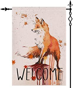 Welcome Fox Friends Garden Flag,Double Sided Yard Flag,Decorative Rustic Welcome House Yard Flag,Home Vintage Seasonal Outdoor Flag 12.5 x 18