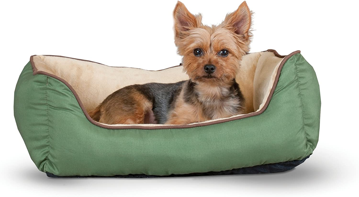 "K&H Pet Products Self-Warming Lounge Sleeper Pet Bed Small Sage/Tan 16"" x 20"" : Pet Supplies"