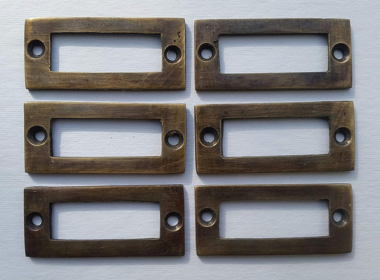 """6 antique vintage brass file cardholder label holder 2 3//16/"""" x 1/"""" #F3"""