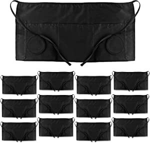 PERLLI Server Apron 12 Pack, Waitress Aprons with 3 Pockets, Cotton Apron Waist Black 24 x 12 Inches, Home and Kitchen and Professional use in Restaurants, Unisex, Water Resistant, Long Ties