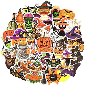 Funny Waterproof Vinyl Stickers for Scrapbooking Water Bottle Party Favors (50 Pcs Pumpkin Style)