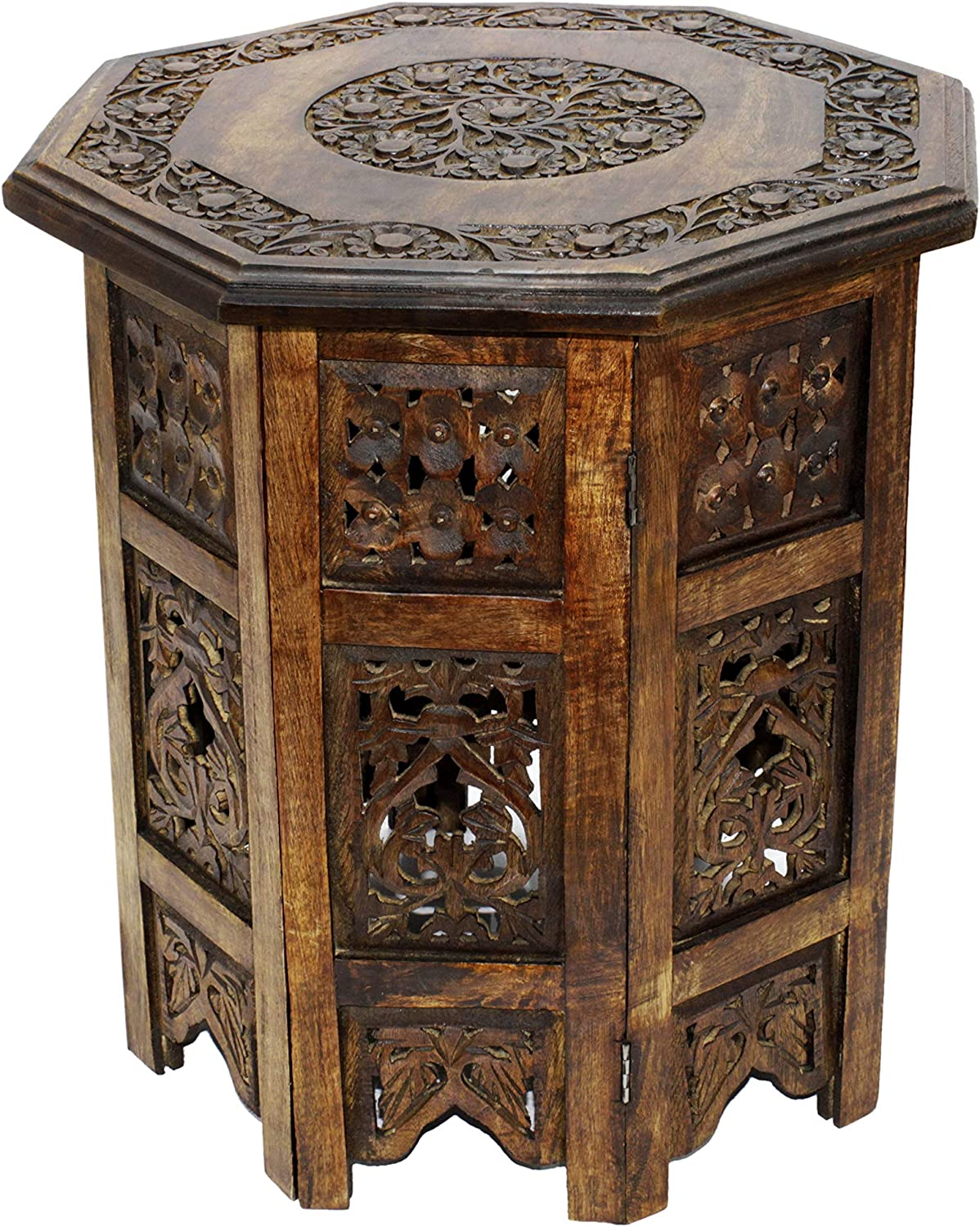 Cotton Craft Carved Wood Octagon Coffee Table -Walnut - 18 Inch Round Top x 18 Inch High -Intricate Detail with Hand Carving