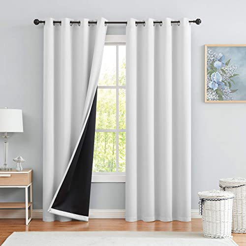 Greyish Blackout Window Curtain Panels for Bedroom 95 Room Darkening Noise Reducing Thermal Insulated, Grommet Top Solid Blackout Window Treatment Drape for Living Room 50 x95 x2, Greyish White