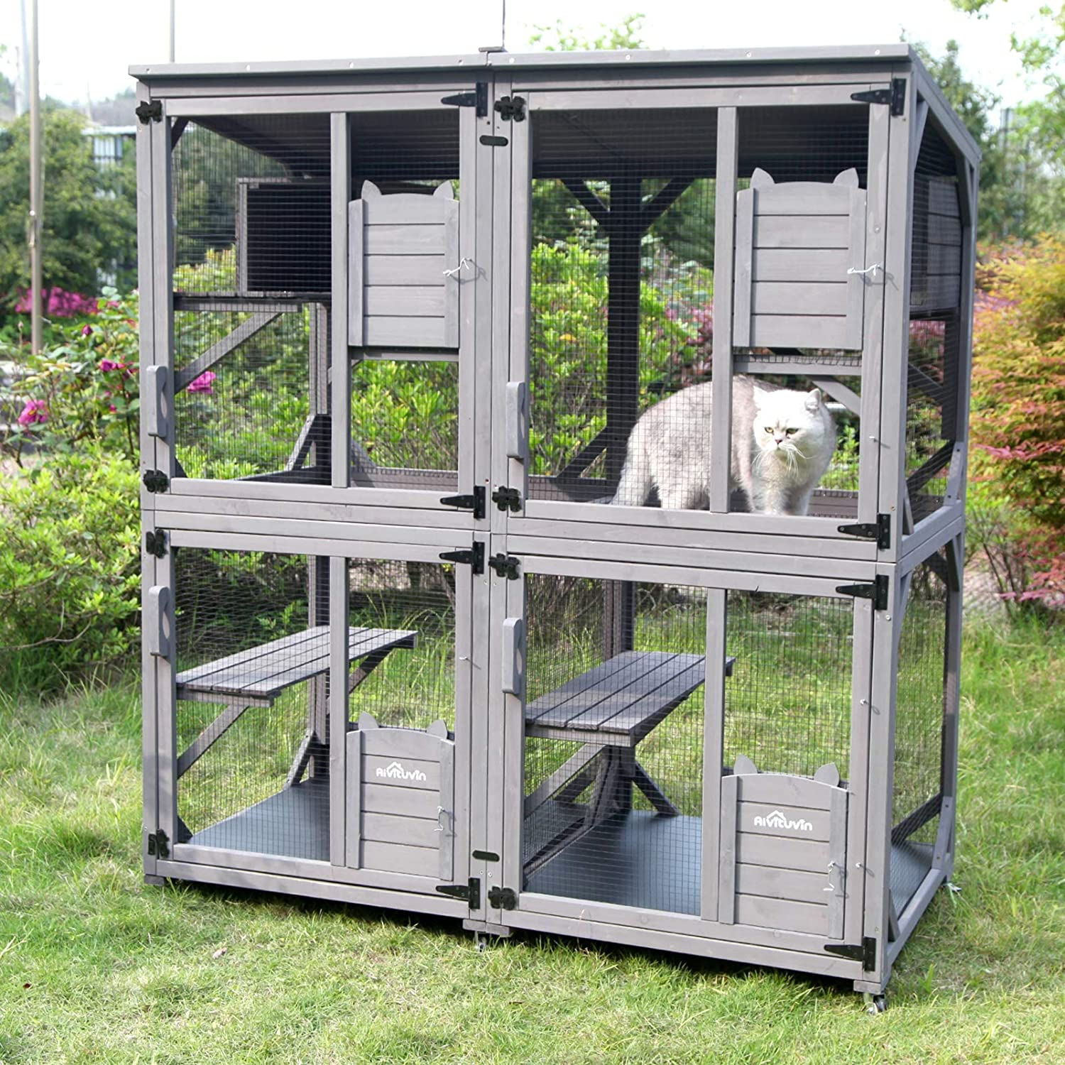 Wooden Cat House Outdoor And Indoor Run Large Cat Enclosure On Wheels 70 9 Upgraded Version Kennel Cage With Reinforcement Wooden Strip 2 Sets Include Kitchen Dining