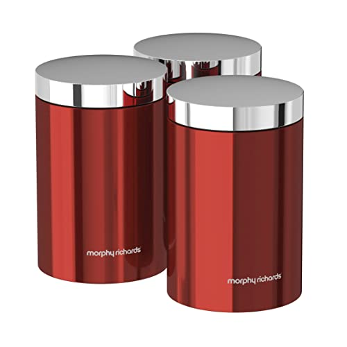 Morphy Richards Set Of 3 Storage Canisters   Red