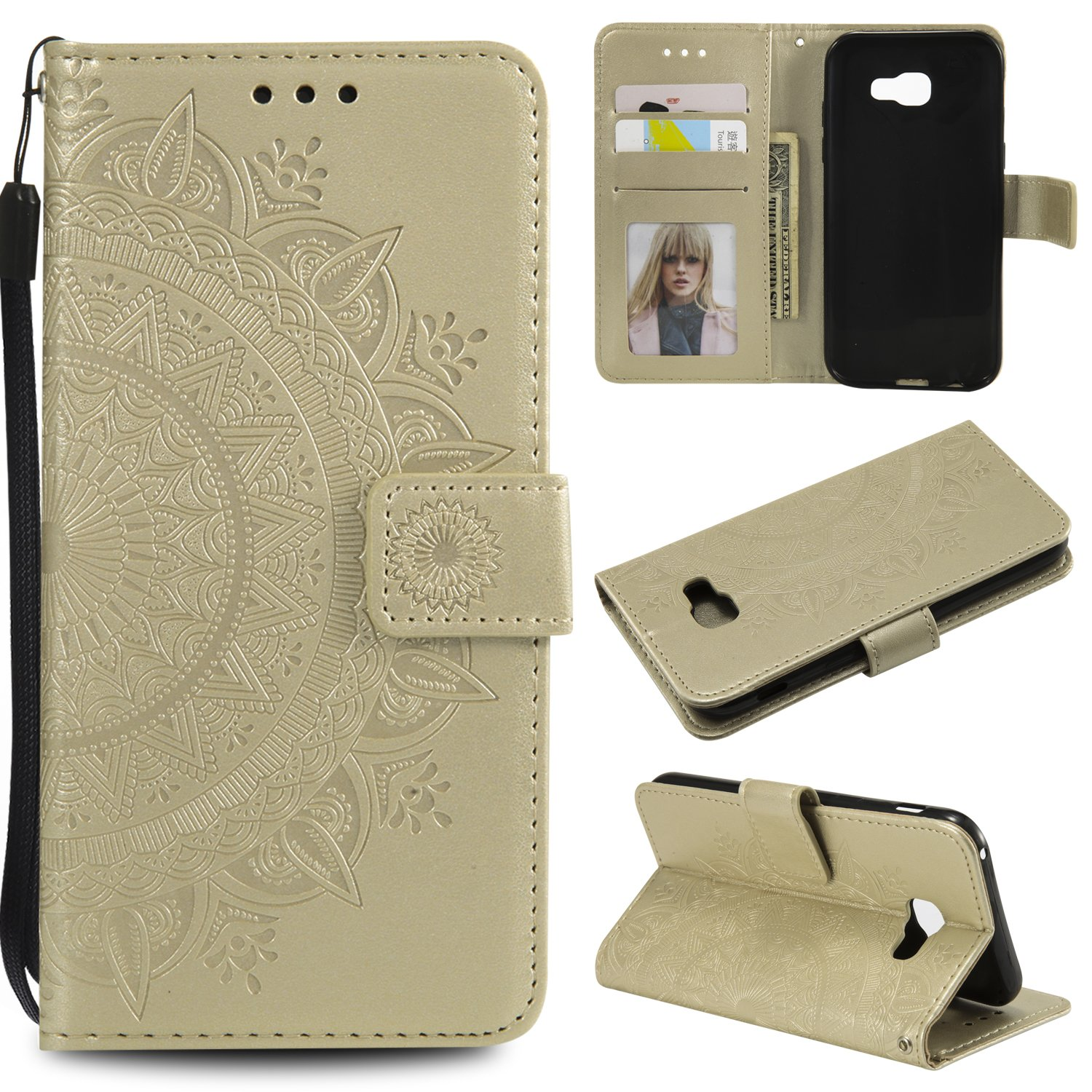 Galaxy A5 2017 Floral Wallet Case,Galaxy A5 2017 Strap Flip Case,Leecase Embossed Totem Flower Design Pu Leather Bookstyle Stand Flip Case for Samsung Galaxy A5 2017-Gold