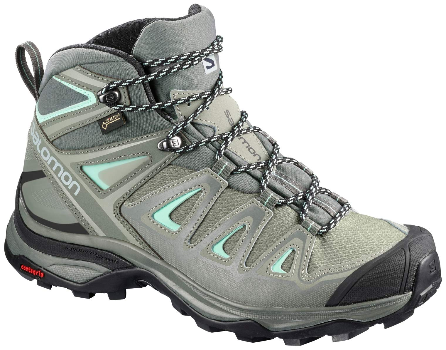 Salomon Women's X Ultra 3 Mid GTX Hiking Boots, SHADOW/Castor Gray/Beach Glass, 5 by SALOMON
