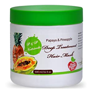 Papaya & Pineapple Hair Conditioning Mask | All-Natural Serum for Hair Growth, Dandruff Prevention, Dry & Damaged Hair Repair | Moisturizing, Thickening & Strengthening Deep Treatment Hair Conditioner