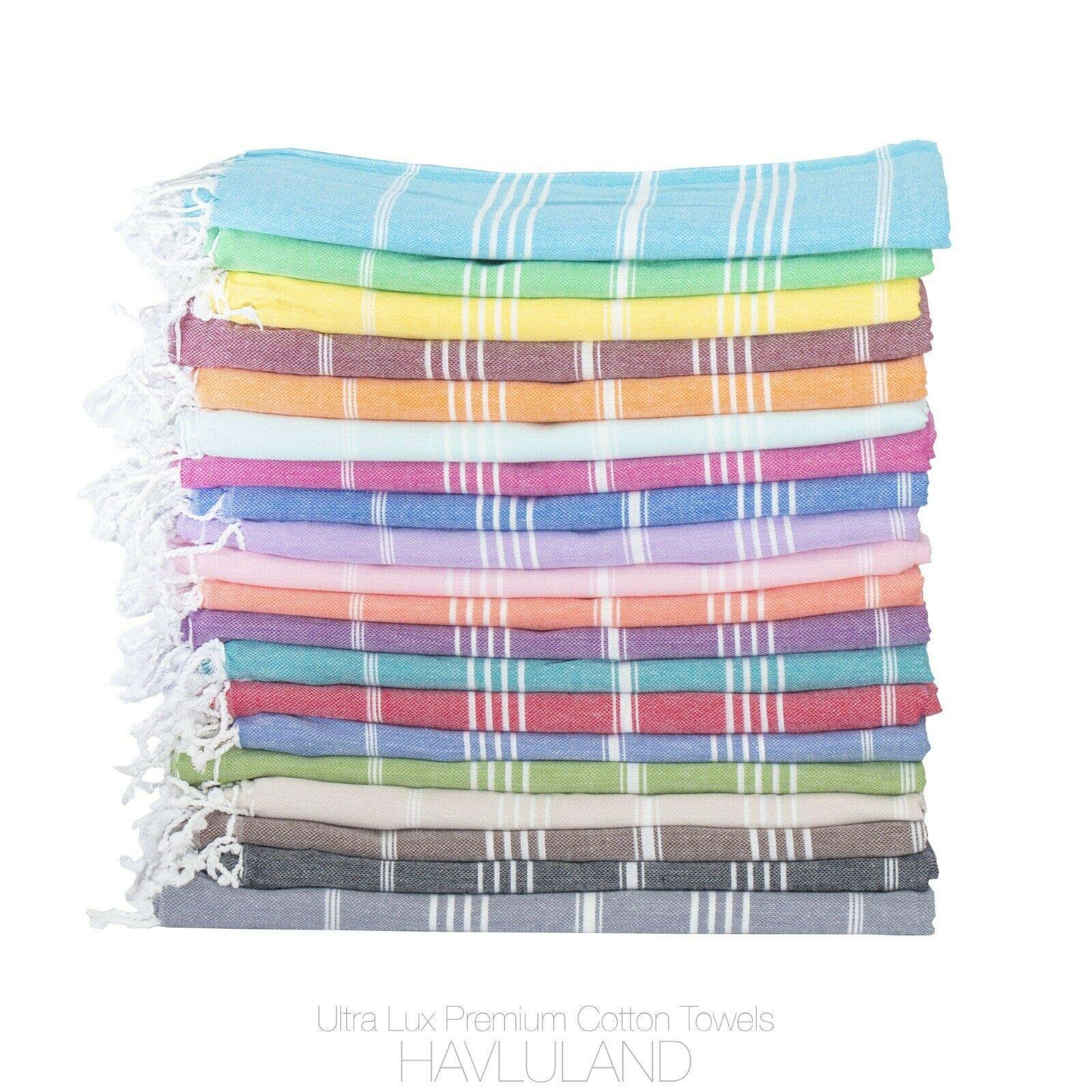 HAVLULAND Sale Set of 6 XXL Turkish Cotton Peshtemal Bath Beach Spa Sauna Hammam Gym Beach Towel by HAVLULAND