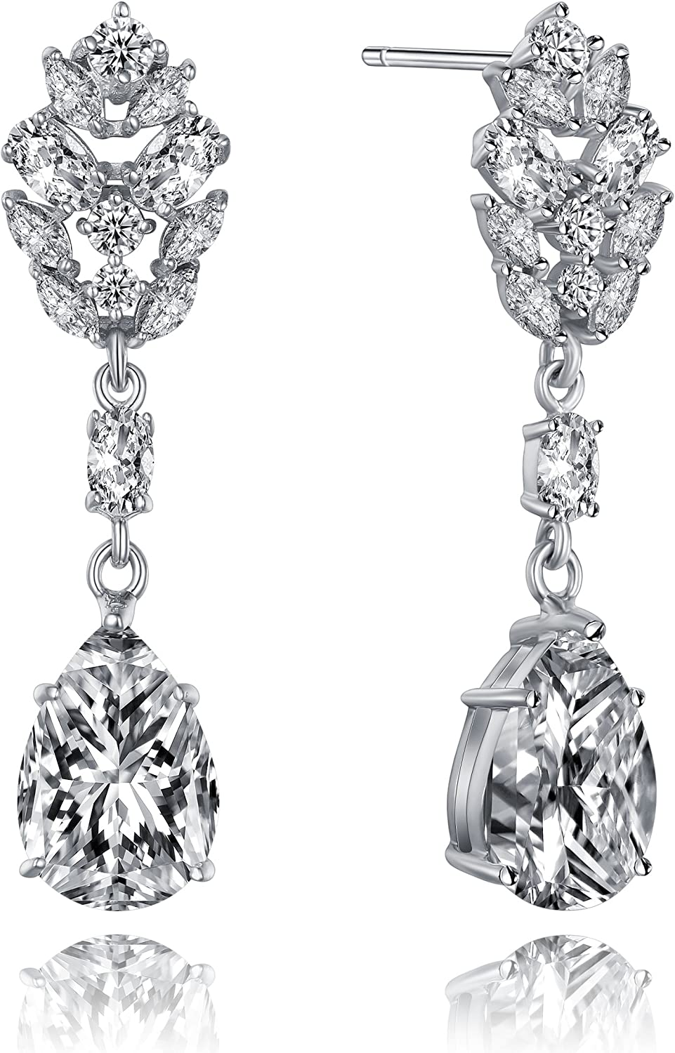 SIMULATED DIAMOND SILVER SURGICAL STEEL CLUSTER LARGE FLOWER STUD EARRINGS