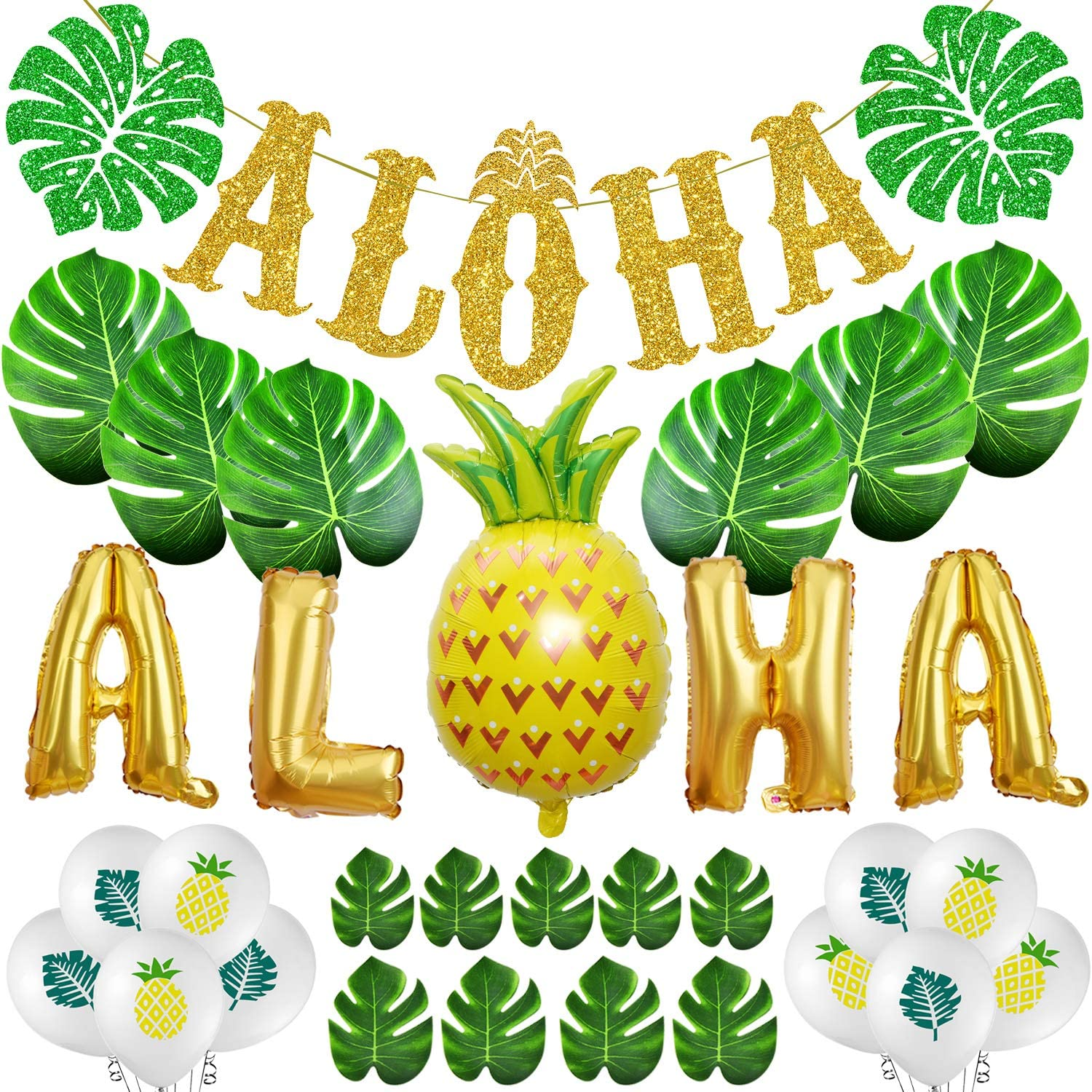TMCCE Aloha Party Decoration Aloha banner Sign Luau Hawaiian Party Decoration Set Large Gold ALOHA Banner,30 Size Of Leaves of Tropical Plants,Aloha Party Balloons,Pineapple and Leaves Latex Balloons