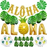 TMCCE Aloha Party Decoration Aloha banner Sign Luau Hawaiian Party Decoration Set Large Gold ALOHA Banner,30 Size Of Leaves o