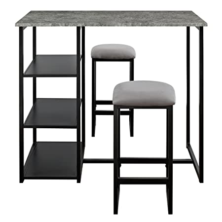 Dorel Living Farley 3-Piece Pub Set with Faux Concrete Top, Gray Black