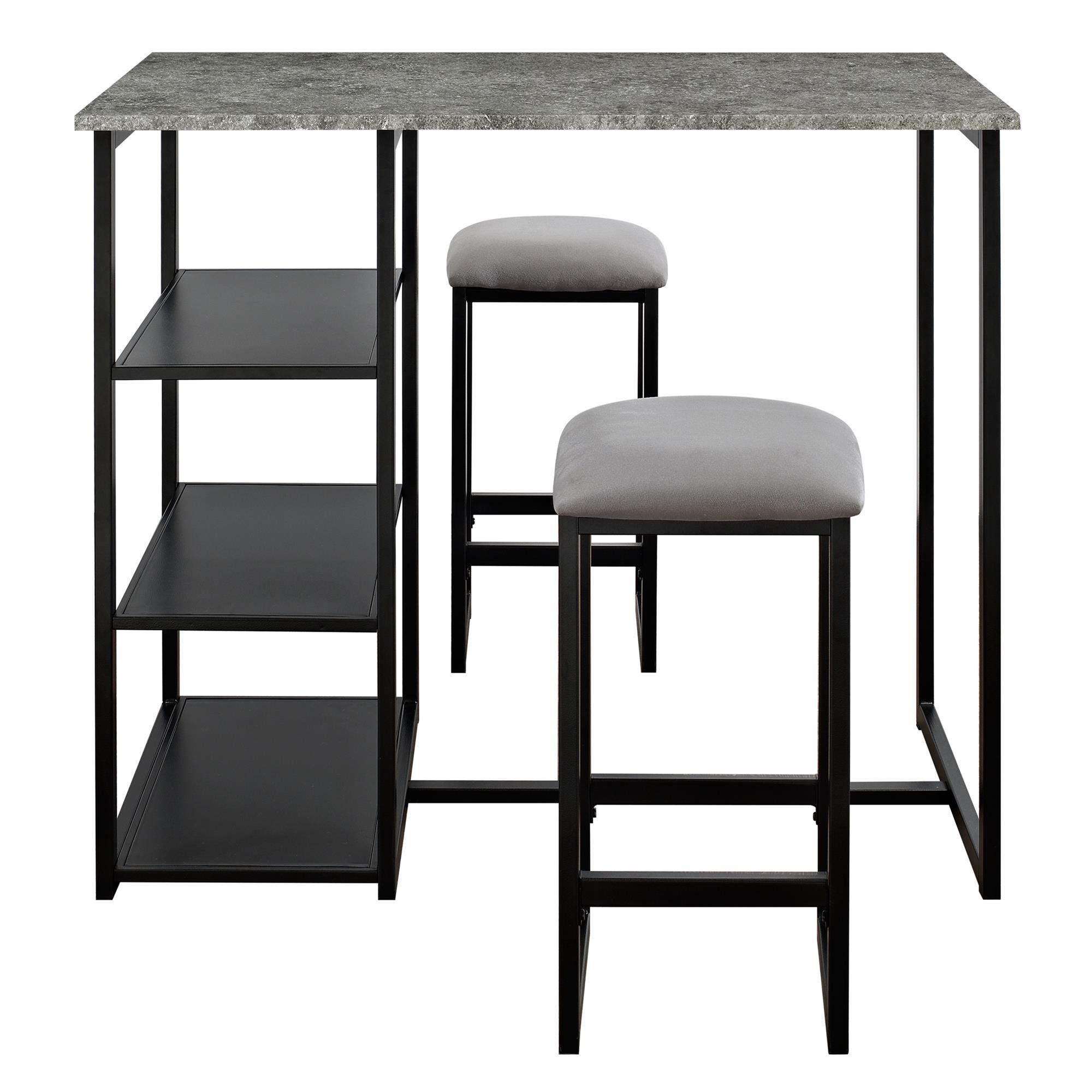 Dorel Living Farley 3-Piece Pub Set with Faux Concrete Top, Gray / Black