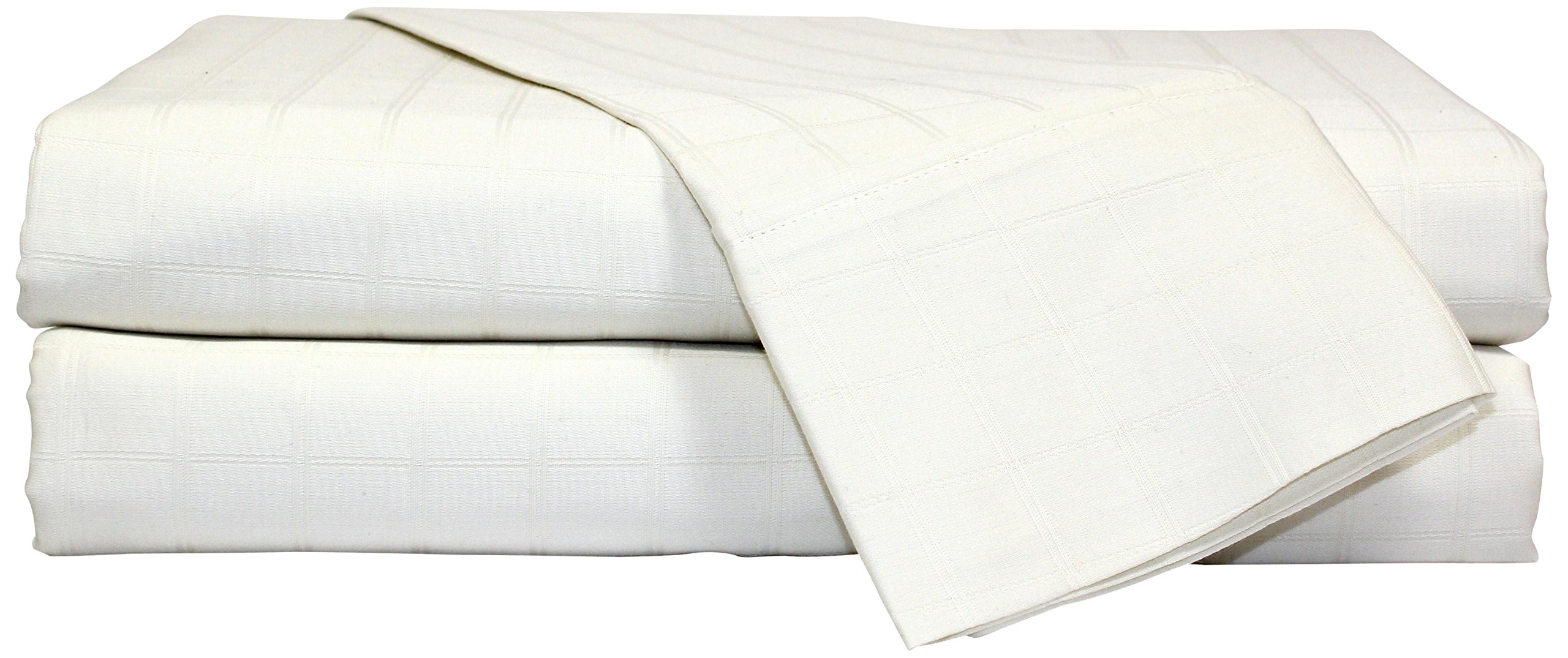 Devonshire Collection of Nottingham 450 Thread Count 1-inch Square Window Pane Sheet Set Solid Hem, Extra Soft - Breathable & Cool Sheets - Hypoallergenic, Ivory, Queen