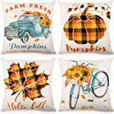 CDWERD Fall Pillow Covers 18x18Inches Pumpkin Buffalo Check Plaid Throw Pillowcase Fall Decorations Farmhouse…