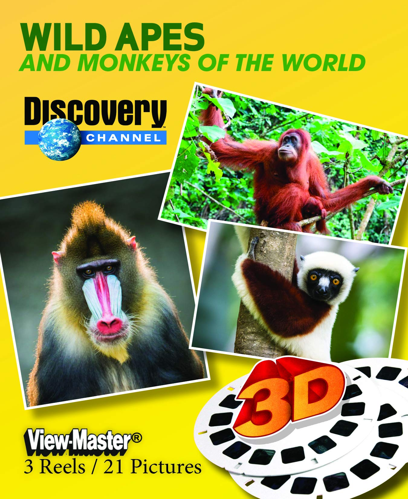 Discovery Channel - Amazing Primates - Classic ViewMaster - 3 Reels on Card - NEW by 3Dstereo ViewMaster