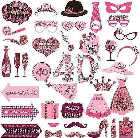 JoyTplay Oro Rosa 30 Anni Compleanno Photo Booth Props,37pz Photo Booth Accessori per Celebrazione 30 Compleanno Cabina Fotografica Puntello