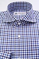 (フェアファクス) FAIRFAX 英国 トーマス・メイソン生地使用 ネイビー系 マルチギンガム チェック柄 ホリゾンタルワイド (細身) ドレスシャツ w1765