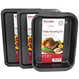 3 Piece ProChef Non-Stick Baking Tray Set [2 x 38.4cm x 26.8cm Oven Trays & 1 x 37.5cm x 27.7cm Deep Roasting Tin]